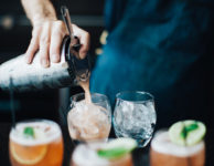 pouring cocktails